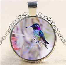 Beautiful Hummingbird Cabochon Glass Tibet Silver Chain Pendant Necklace