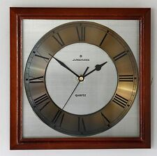 *Vintage* Junghans Wooden Wall Clock - Classic Gold 70s 80s Glass Square Gift