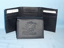 MIAMI DOLPHINS    Leather TriFold Wallet    NEW    black 3  m3