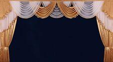 Deko GARDINEN VORHÄNGE BOGEN  ÜBERGARDINEN Curtains Weiß - Gold  Nr. 327