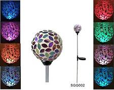 Solar Power Flower Glass Ball Garden Stake Lawn Lamp Color Change Yard LED Light