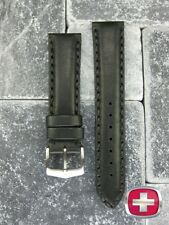 NEW 22mm SWISS ARMY WENGER Black Calf Leather watch Strap Victorinox Band 22