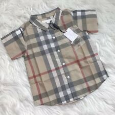 Burberry Children Baby Boy Classic Check Short Sleeve Shirt Size 24 Month