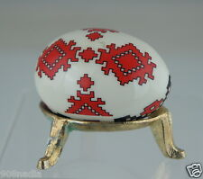 RUSSIAN OR UKRAINIAN FOLK ART POTTERY EGG ON STAND TRADITIONAL BLACK/RED DECOR