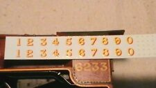 TRIANG HORNBY LIMA ECT LMS LARGE NUMBERS X2 TRANSFERS DECAL YELLOW GOLD / RED