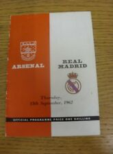 13/09/1962 Arsenal v Real Madrid [Friendly] (slight creasing).  We are pleased t