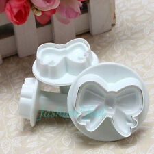3pcs Bow Knot Cake Decorating Cookie Plunger Cutter Fondant Sugarcraft Mould AAC