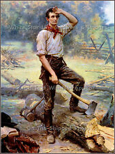 Painting: Lincoln The Rail Splitter - Abraham Lincoln by J.L.G. Ferris, 1909