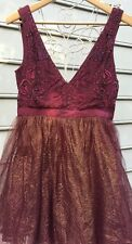 Free People Deja Vu Embellished Mini Dress Burgundy Gold Tulle Sz 2