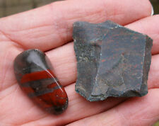 2 x BLOODSTONE *1 ROUGH UNPOLISHED - 1 POLISHED TUMBLESTONE * GIFT BAG * ID CARD