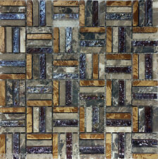 SAMPLE- Brown Natural Stone Iridescent Glass Pattern Mosaic Tile Backsplash Wall