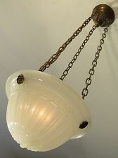 "RESTORED! Antique ""Ripley Alabaster"" Greek Key Hanging Light Fixture c.1910!"