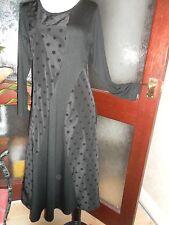Yong Kim Scoop Neck Modal & Dot Taffeta Panel Black  Dress NEW