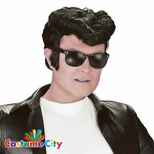 Adults Mens 1950s Greaser Wig 50s Rock & Roll Elvis Grease Fancy Dress Accessory