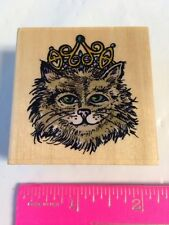Sugarloaf Kitty Cat Face w/ Princess Queen Crown on Head Rubber Stamp Not Inked