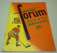 Original 1957-58 NHL Montreal Canadiens VS Boston Bruins Hockey Program
