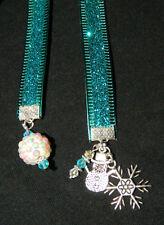 Handmade Crystal Silver Book Thong Bookmark Snowflake Snowman Winter Holiday