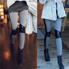 Pop Lady Sexy Stitching Skinny Elastic Pants Stretchy Leggings Splicing Trousers