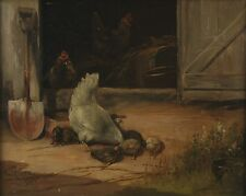 1902 Chickens in Barnyard Scene Oil Painting Paul E. Harney St. Louis Artist