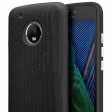 For Motorola Moto G5+ PLUS - Hard Rubber Hybrid Armor Nonslip Phone Case Black