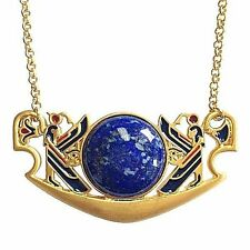 """Egyptian Tannis Pectoral Necklace Gold Plate & Large Lapis Cabochon 18"""" Chain"""