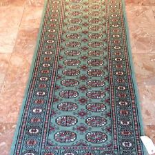 21/2x12 Runner hand knotted oriental rug L.Green 100% Wool Pile Bokhara Design.