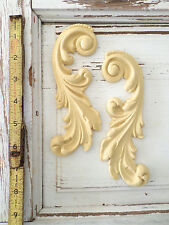 FURNITURE ARCHITECTURAL APPLIQUES SCROLLS (2 PIECES)-WOOD & RESIN-BENDABLE-NEW!!