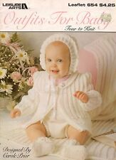 Leisure Arts 654 Baby Outfits Knitting Patterns Aran Heart Bobbles Blanket 1988