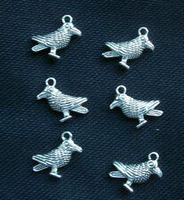 6 Bird Charms Raven Crows Pagan Wicca Silver Tone Metal