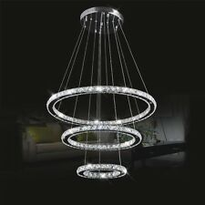 Modern 3 LED Rings Circle Crystal Chandelier Pendant Light Ceiling Lamp Lighting