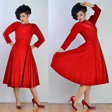 VTG 40s 50s Red Velvet FULL CIRCLE SKIRT Holiday Winter Wedding Party DRESS S-M