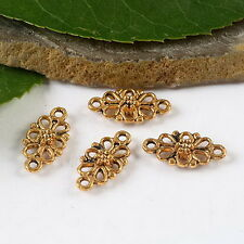 15pcs dark gold-tone flower charms findings h1492
