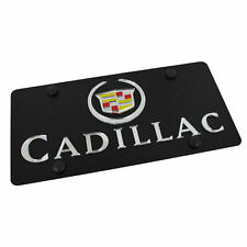 Cadillac Silver Logo + Name On Carbon Stainless Steel License Plate
