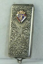 VICTORIAN ANTIQUE STERLING SILVER 10K GOLD ENAMEL K OF C MEMBERSHIP CARD CASE