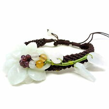 Green jade hand knitted flower and leaf bracelet - balouli