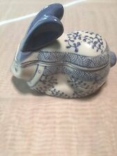 Vintage Blue and White Ceramic Porcelain Lidded Rabbit, Trinket Box-Candy Dish