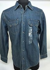 New Levis Large Western Denim Shirt Sawtooth Pockets Catseye Snap Close - Large