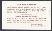1971 ROYAL ORDER OF SCOTLAND, LUNCHEON BANQUET, WASH DC