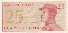 INDONESIA BANCONOTA DEL 1964 25 SEN MAI CIRCOLATA