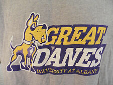 University at Albany GREAT DANES T-Shirt Large Heather Gray 90/10 Blend *Nice*