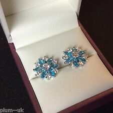 Y80 Plum UK 14mm aquamarine snowflake silver (white gold gf) stud earrings BOXED