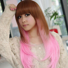 Fashion Full Long Straight Pink Brown Hair Harajuku Cosplay Costume Wigs Women