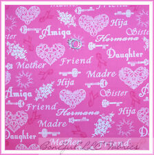 BonEful Fabric FQ Cotton Quilt VTG Breast Cancer Word Heart PINK Ribbon Cure Key