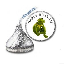 216 MUPPETS KERMIT THE FROG HERSHEY'S KISS BIRTHDAY STICKER LABELS  Party Favors