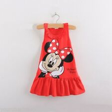 NEW GIRLS MINNIE MOUSE FRILL DRESS 2-3,4-5,5-6,6-7 YEARS RED PINK CASUAL/PARTY
