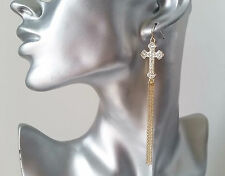 Gorgeous long gold tone & diamante cross & chain tassel drop earrings, * NEW *
