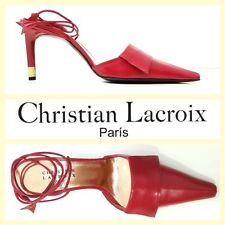 Christian Lacroix vintage red leather sexy & edgy ankle wrap sandals~38/8