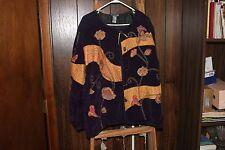 Indigo Moon Women's Purple & Gold Flower Design Jacket Size 3X