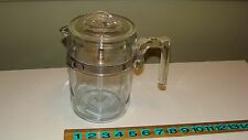 Vintage PYREX #7826 Fin Lid Glass Stove Top Percolator Coffee Pot - COMPLETE