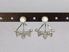 silver white spike ear jacket front back earrings double look stud spiked stud